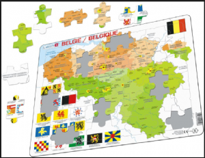 Map of Belgium/Belgie/Belgique  with Flags- Frame/Board Jigsaw Puzzle 29cm x 37cm (LRS  K59-V1)